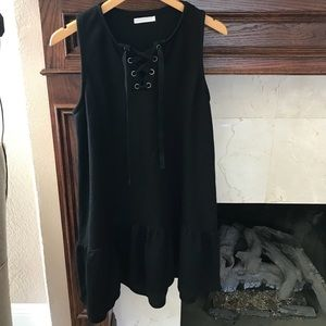 B1G1 CASLON Drop Waist Lace Up Black Sweater Dress